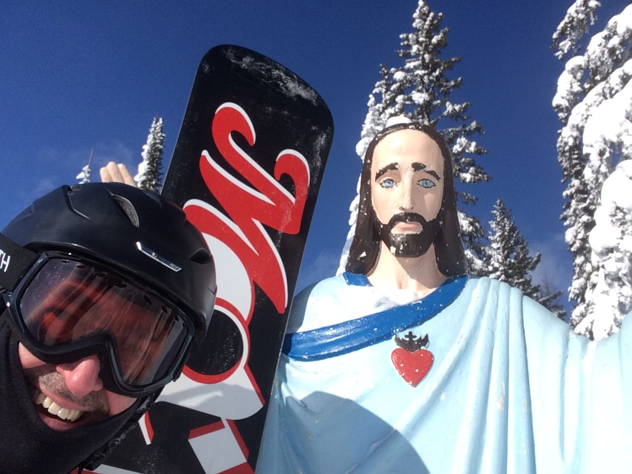Snow Jesus at the top of Big Mountain in Whitefish, MT